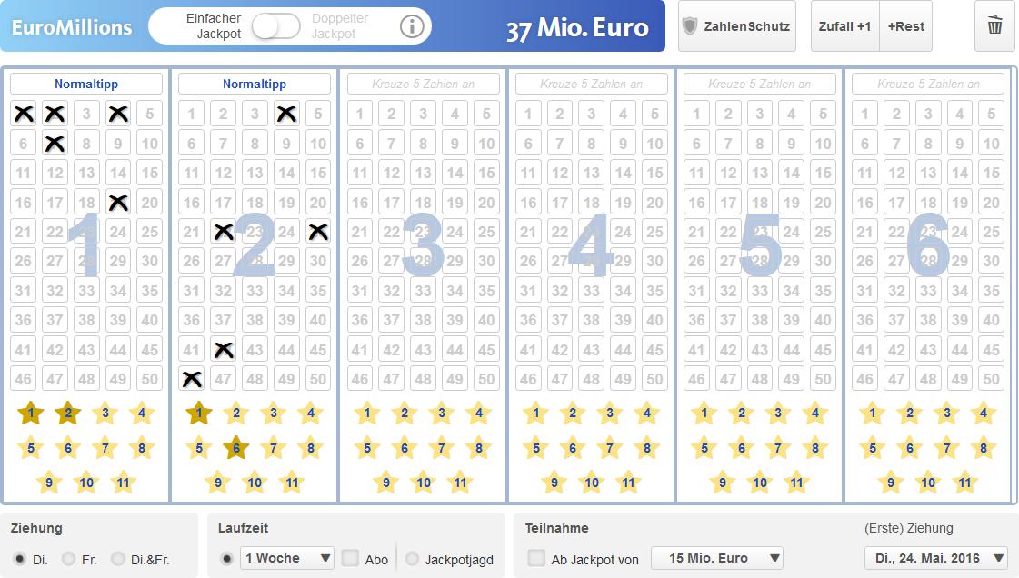 EuroMillions Spielschein